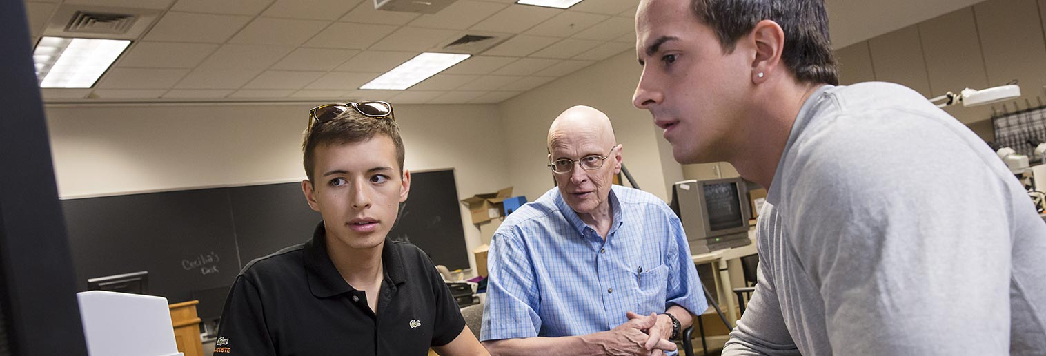 Alex Huynh (Biology 2014), Prof. Bevington, and Vincent Reed (Environmental Science 2014)