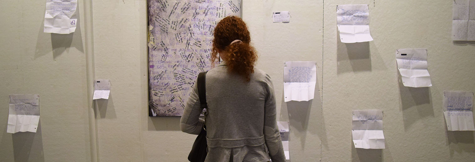 Moravian College student at art exhibit