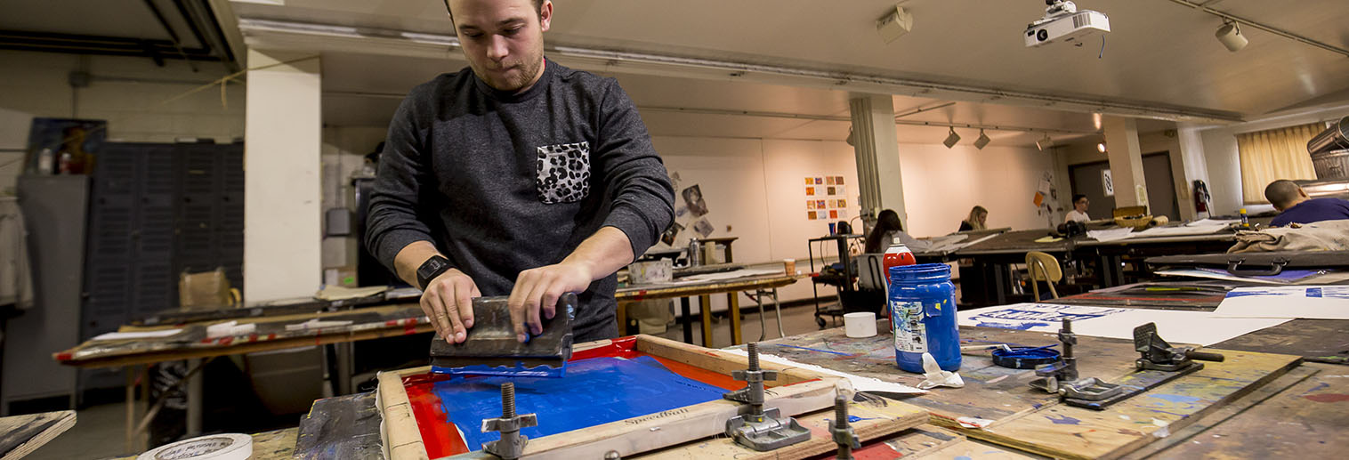 Moravian College Art Department Courses, Shamus Matthews silkscreen printing