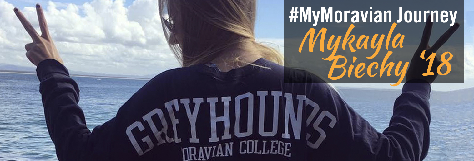 Image of student in a greyhound sweatshirt Mykayla Biechy '18 blogs about her journey at Moravian College