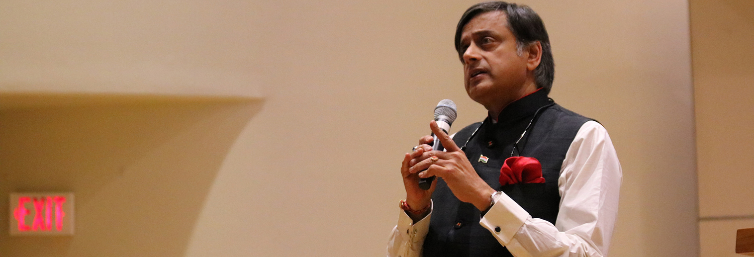 Shashi Tharoor gives the first presentation of the  Moravian College's inaugural Rabindranath Tagore Distinguished Lecture Series.