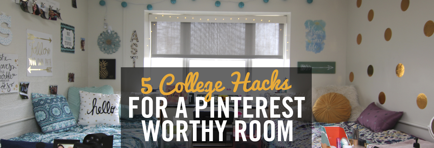 image of college dorm room with wall decor, Sorority letters, tapestries, decorative pillows/bedding etc.
