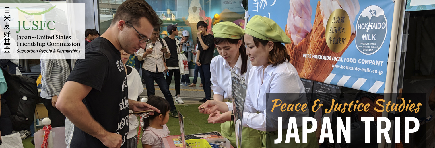 Student meeting with locals in Japan while studying abroad on the Peace & Justice Studies trip.