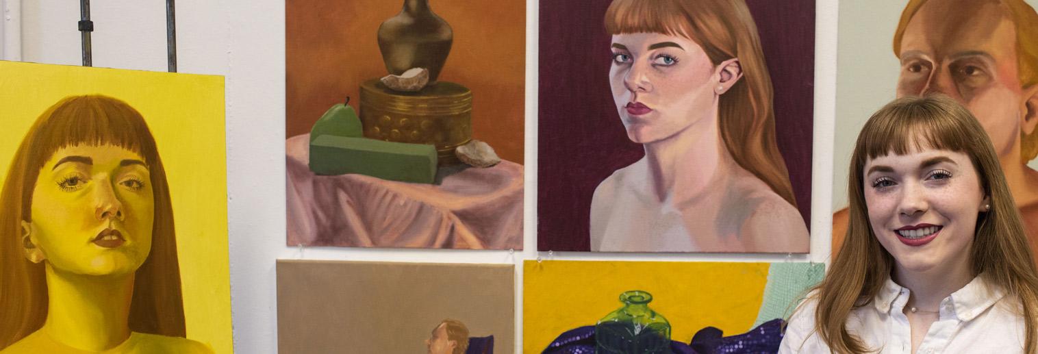 Studio Art, BA & BFA, Jillian McLuhan with her artwork