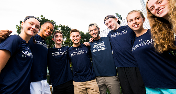 A group of students in Moravian gear