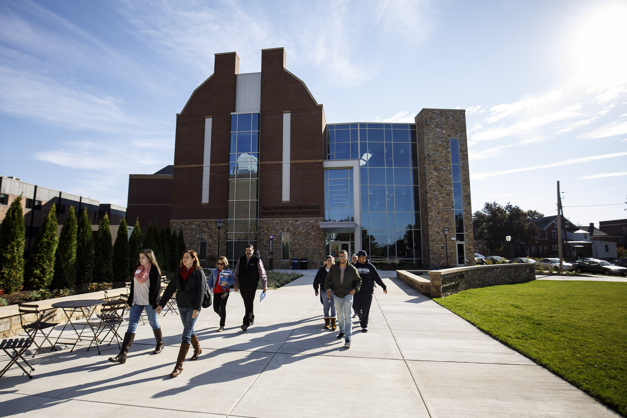 Students walking on Moravian campus