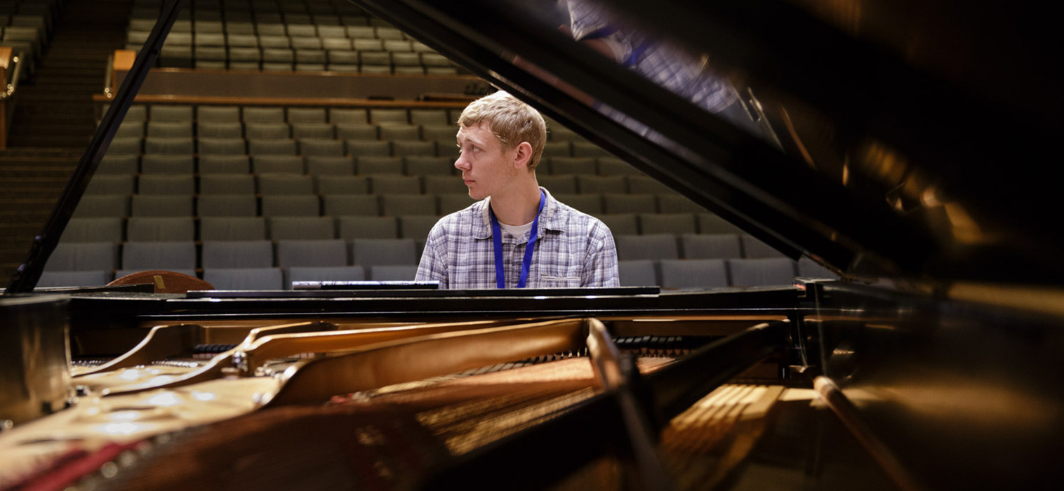 Patrick Kerssan plays a Steinway at Foy Hall Moravian College