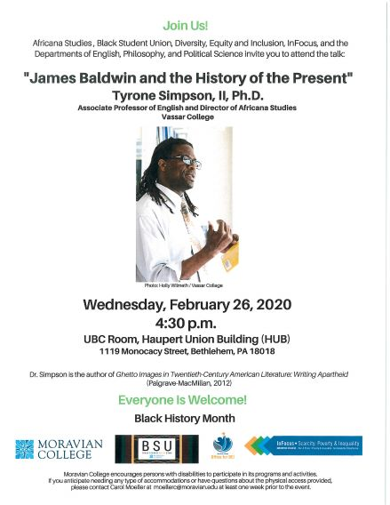 """James Baldwin and the History of the Present"" Tyrone Simpson, II, Ph.D."