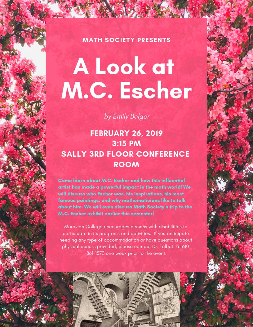 Image of flyer for epsilon talk about MC Escher