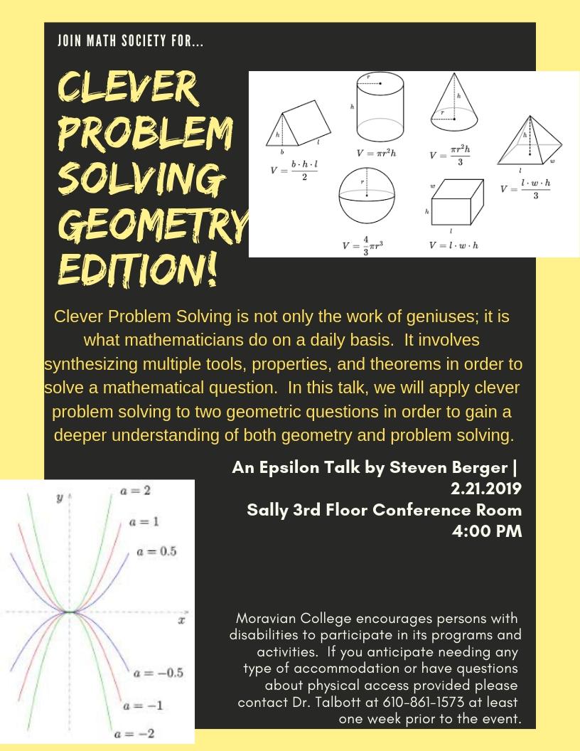 Image of flyer for epsilon talk with geometric figures