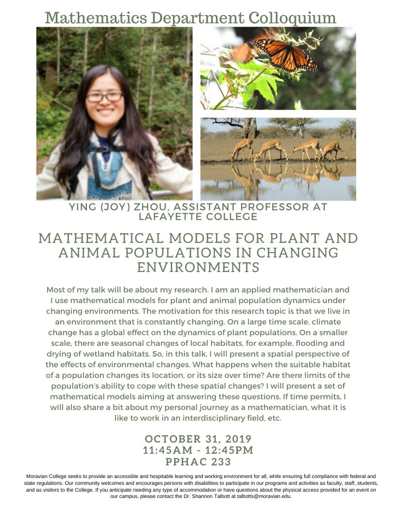 Flyer for Colloquium talk with image of speaker and environment pics