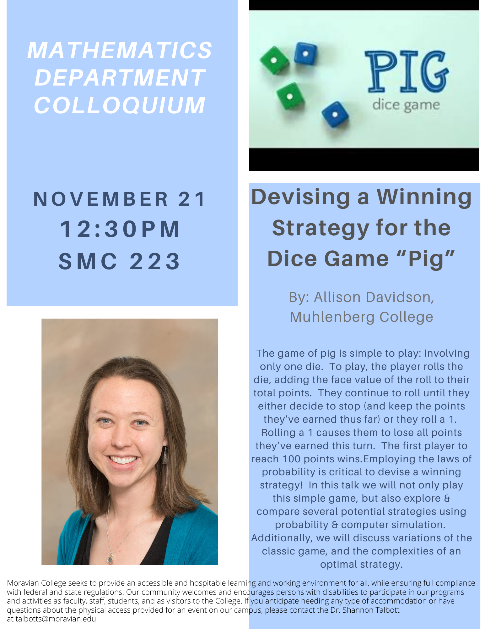 Image of flyer for PIG game colloquium with dice and speaker image