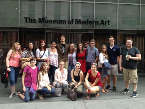 Professor Kristin Baxter with first year seminar students at MoMA