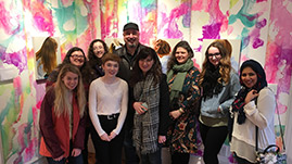 Click for More About Art Club, Pictured: Students and Alumni with Angela Fraleigh's Art Installation at Edward Hopper House Museum and Study Center