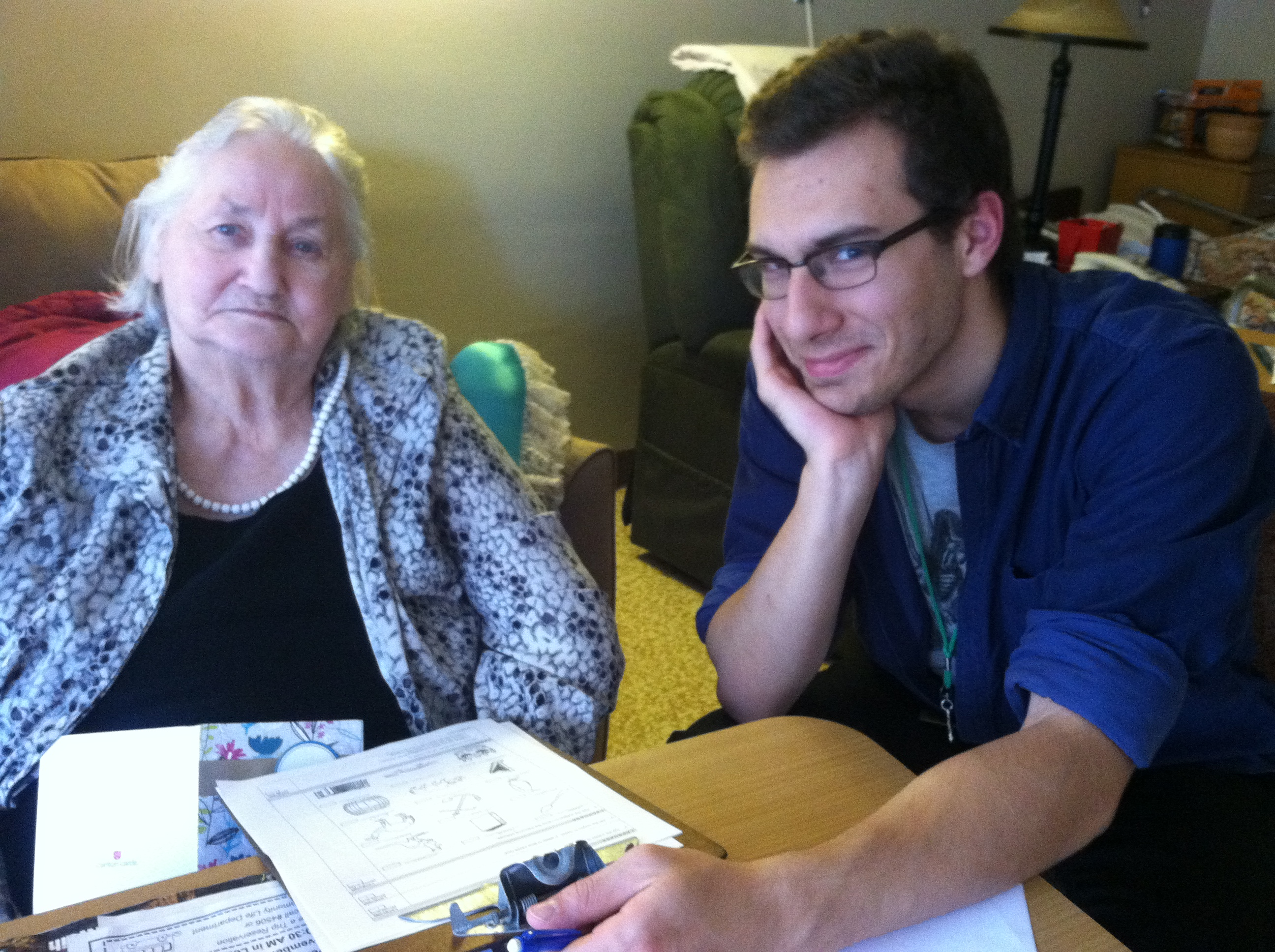 Ben Seitz with a resident of the Pheobe Richland Home