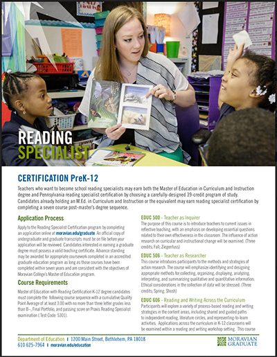 Reading specialist certification program guide