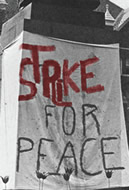 Strike for Peace spray painted on sheet