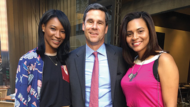 Andy Hart '90 in New York City with model Fior Mendez (left) and Sardis Rijo (right), vice president of the Charles Decker Foundation
