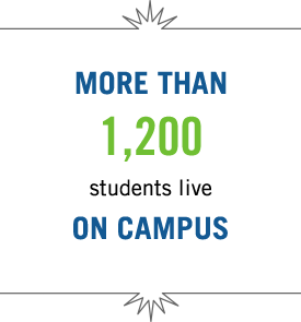 More than 1,200 students live on campus