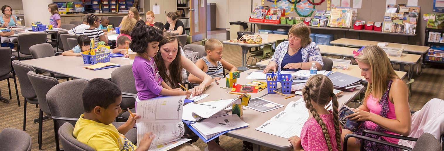 Children in teaching classroom