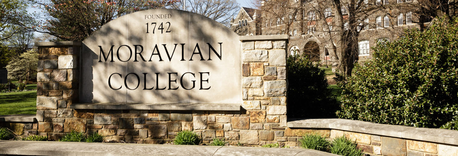 Outdoor photo of Moravian College stone sign