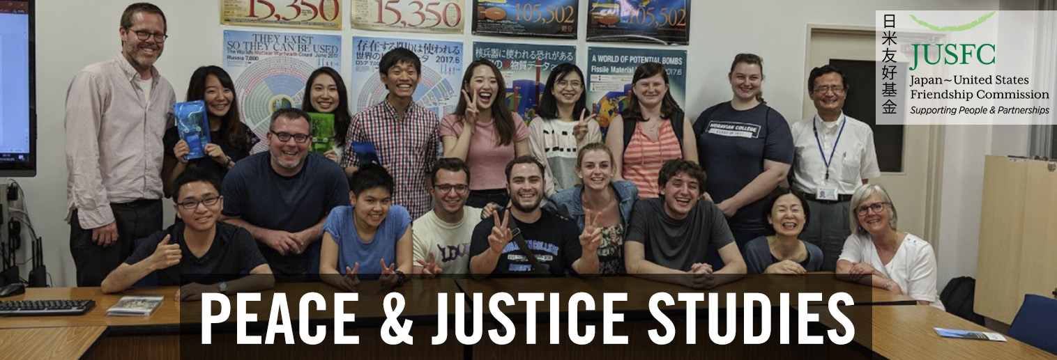 "Photo of students from Moravian College and Japan with text ""Peace and Justice Studies"""