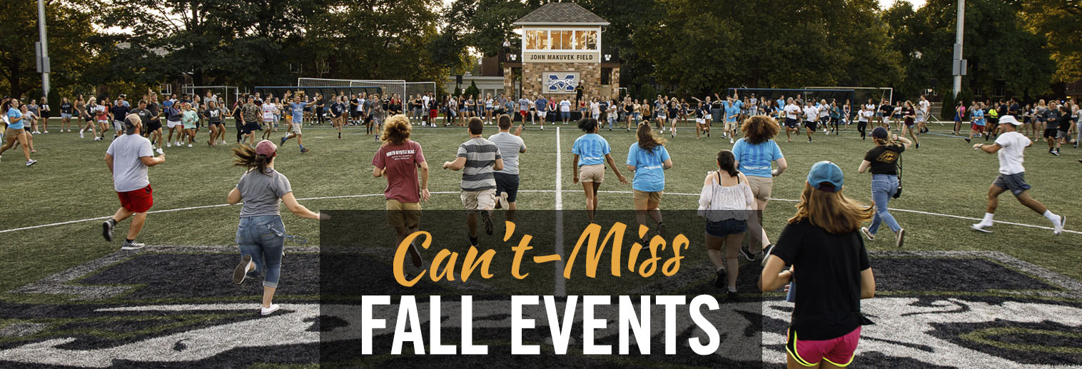 """Can't-Miss Fall Events"" with students running on John Makuvek Field"