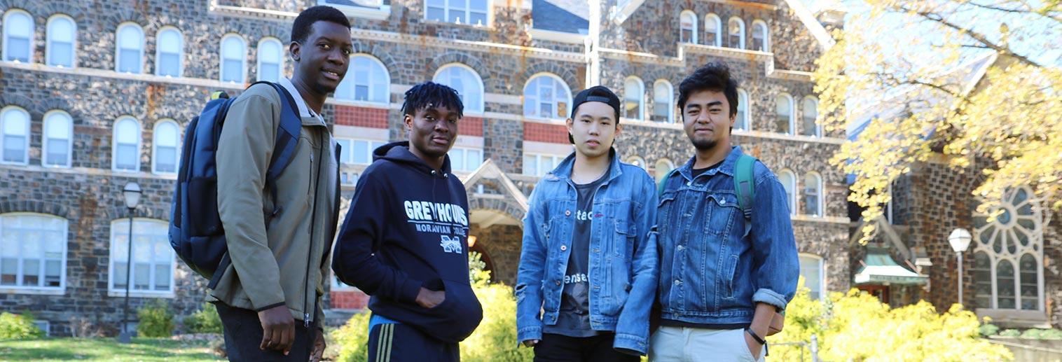 International students outside Comenius Hall