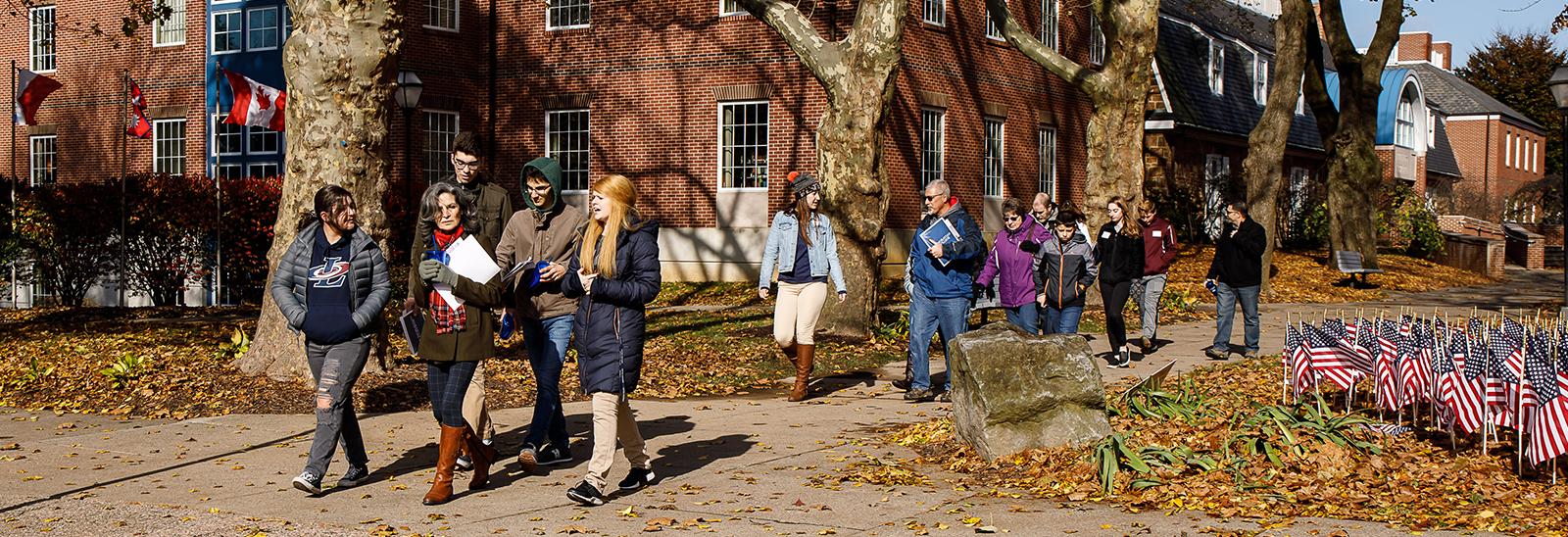Tours walk across campus