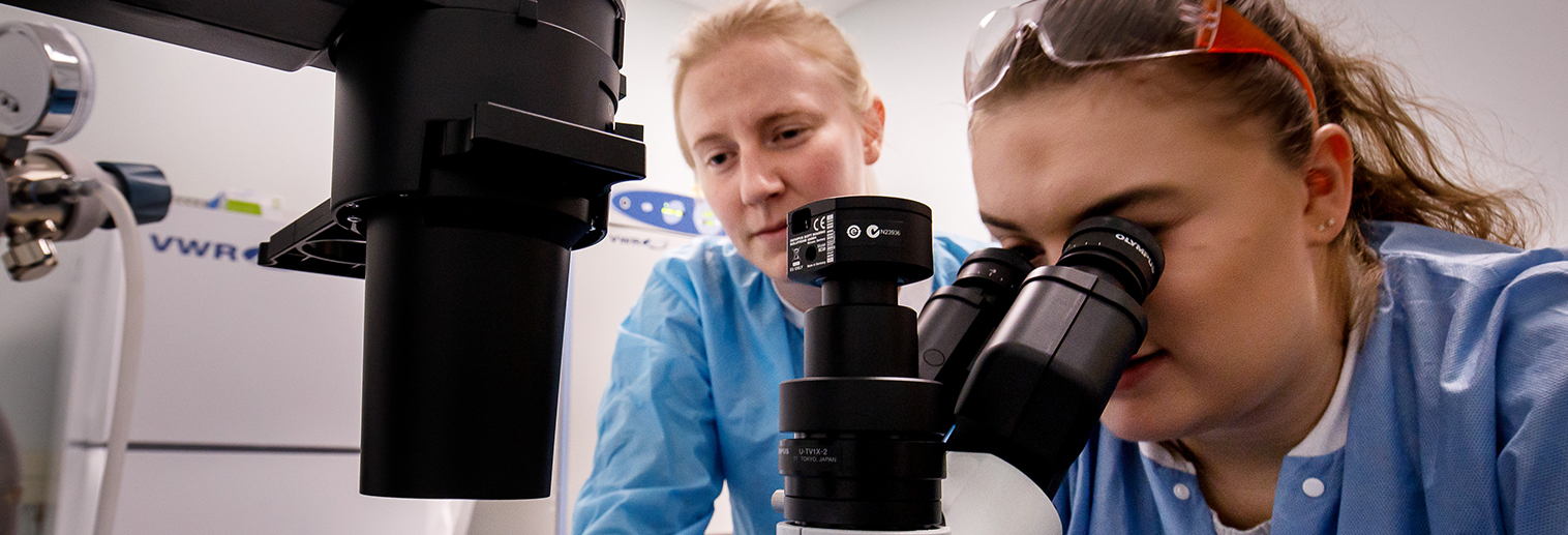 Kaitlyn Nemes looking into microscope
