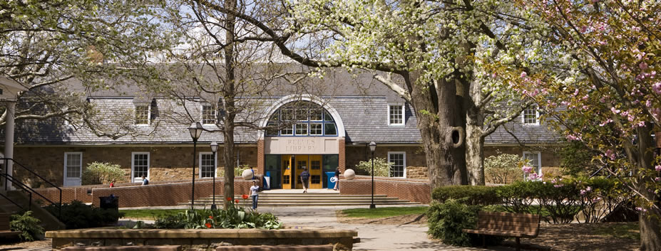 Outdoor photograph of Reeves Library at Moravian College in Bethlehem, PA