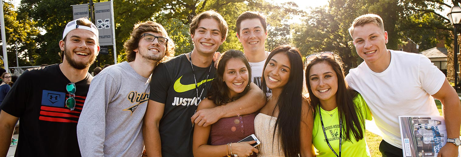 Group of students outside during fall orientation
