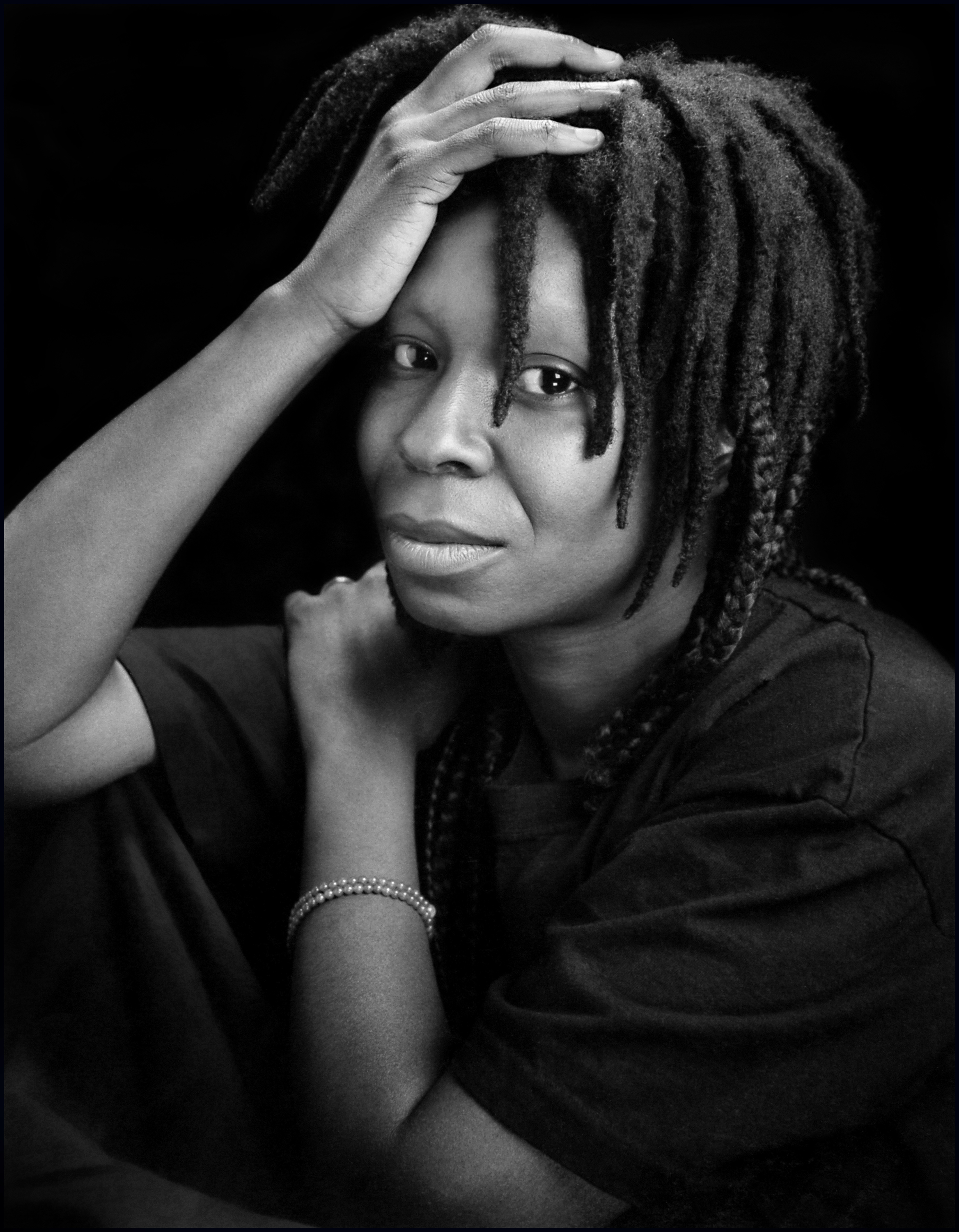 """Whoopi Goldberg,"" 1988, Black and White Silver Gelatin Photograph"