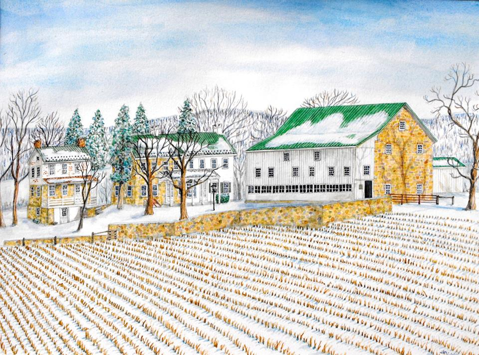 """Fretzdale Farm, Zionsville,"" watercolor"