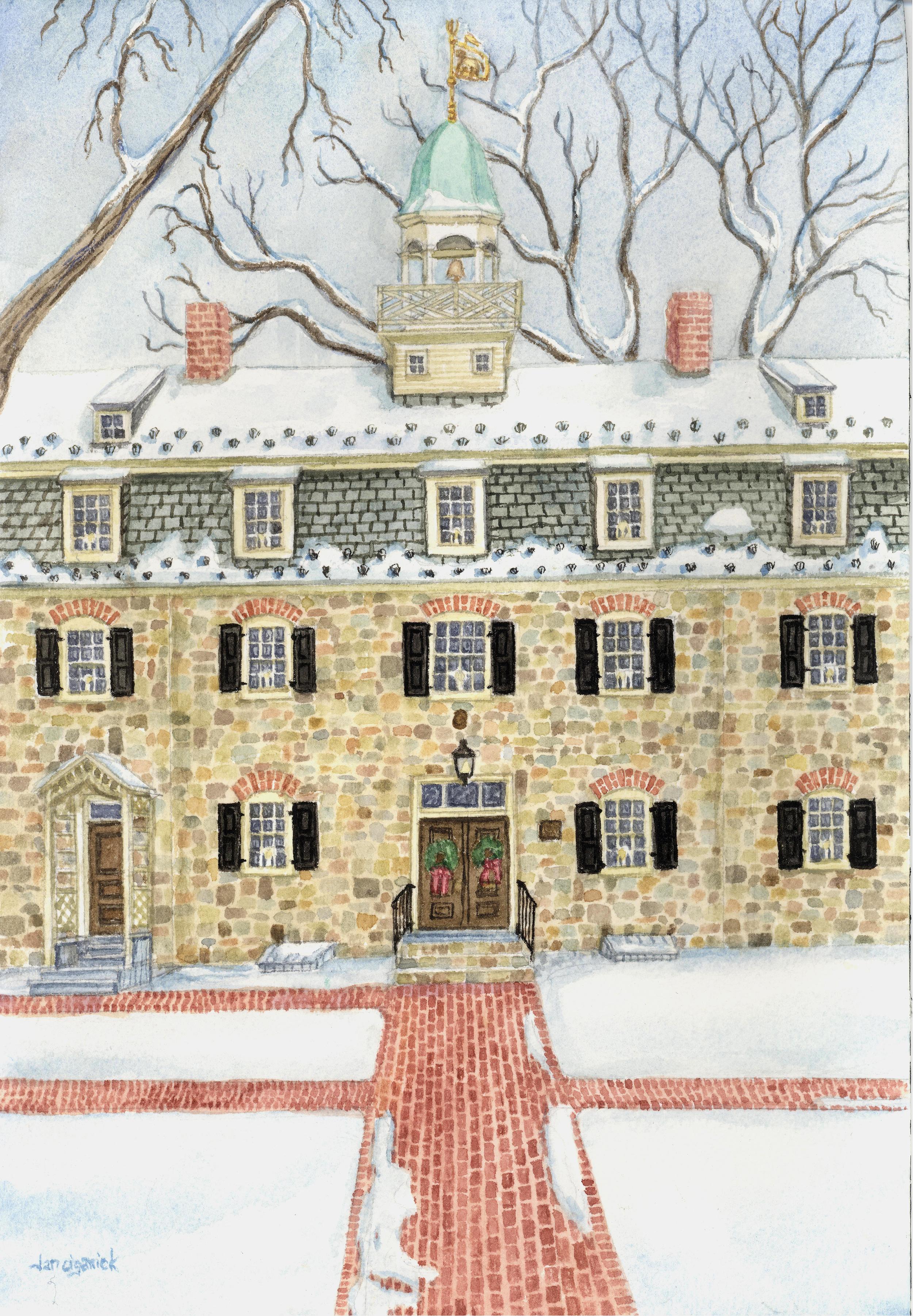 """Bell House, Church Street, Bethlehem,"" watercolor"
