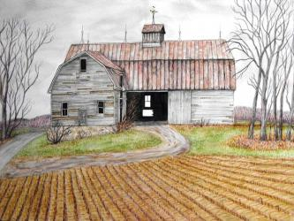 """Abandoned Barn, Durham Road,"" watercolor"
