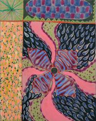 """""""Pinwheel,"""" 2019, Acrylic and glass on linen"""