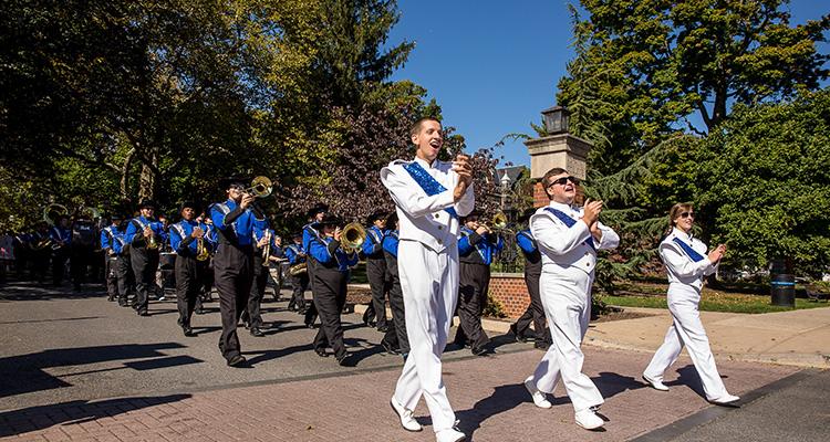 marching band on homecoming parade