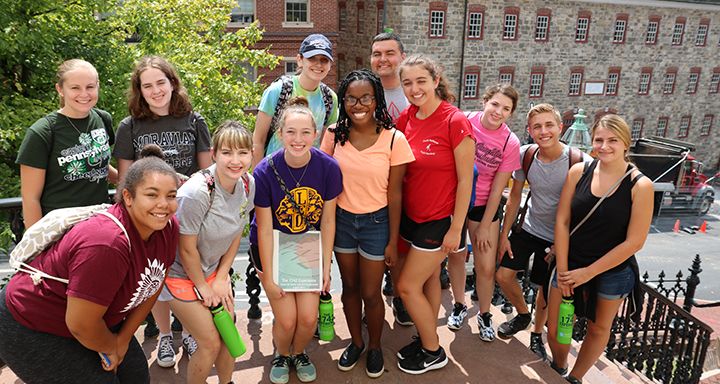 Students pose during the 1742 Experience on South Campus