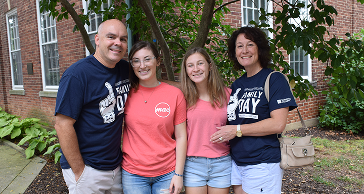 Moravian College student with her family