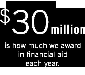 $30 million awarded in financial aid each year